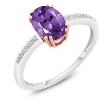 1.00 Ct Oval Purple Amethyst and Diamond 10K Two-Tone Gold Ring