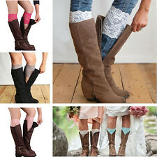 1pc Women Stretch Lace Boot Cuffs Flower Leg Warmers Lace Trim Toppers Socks