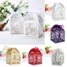 50 PCS Wedding Party Gift Boxes Favor Love Bird Candy Laser Cut With Ribbon