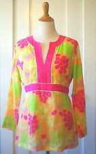Lilly Pulitzer Sangria Fruit Orange Pink Notched Neck Fitted Tunic Linen Top L