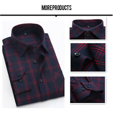2017 Classic Flannel Mens Long Sleeve Plaids Checks Casual Slim Dress Shirts Top