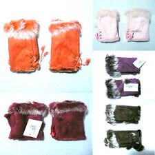 Set of 2 Pairs  Winter Fingerless Faux Leather Gloves Hand Wrist Warm Rabbit Fur