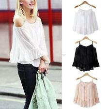Womens Ladies Sexy Off Shoulder Vest Long Sleeve Blouse Casual Tank Top T-Shirt