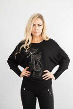 NEW Ladies Black Long Sleeve Jumper Top Women Pullover Sparkle Sweater Size S-XL