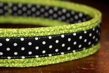 Lime Green with Black & White Polka Dots Dog Collars & Martingales & Leashes