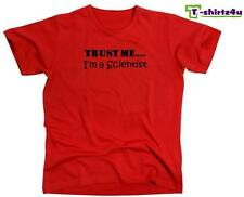 TRUST ME I'M A SCIENTIST Funny Humor Gag Gift Fun Tee T-Shirt - NEW - Red