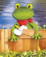 Friendly Fence Toppers Frog  Decoration Deck Garden yard Decor