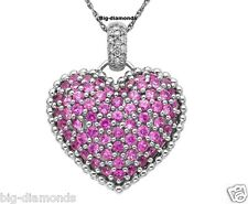 """1.00Cts Red Round Ruby & Diamond Heart Shape Pendant 17"""" 10K Gold~925 SS"""