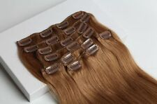 Virgin Clip In 100%Real Human Hair Extensions Full Head 75g 7pcs Golden Brown