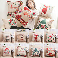 Christmas Cotton Linen Bed Sofa Home Decor Decorative Pillow Case Cushion Cover