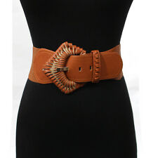 Women Western Fashion cowgirl Belt PU Leather Elastic Stretch Waist Wide S~XL