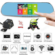 Quad Core 5'' Android Car Rearview Mirror GPS 1080P DVR Wifi + Backup Camera lot