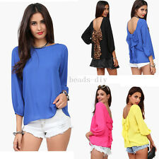 Women's Sexy Backless BowTie Chiffon Shirt Long Sleeve Blouse Ladies Casual Top
