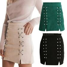 Women Lace Up Suede Leather Pencil Skirt Split Bodycon Short Mini Skirt N6U3