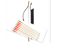 20-80# Archery Black Cow Leather Hunting Chinese Longbow  +6pcs Wooden Arrows