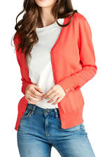 Juniors Basic Long Sleeve V-Neck Button Front Classic Light Cardigan Sweater Top