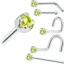 Solid 14KT White Gold (August) 1.5mm Genuine Peridot Nose Ring