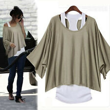 Fashion Lady Twinset Casual Batwing Sleeve Crew Neck Tops Blouse T-shirt +Tank
