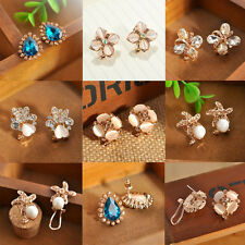 1Pair Elegant Stylish Women Girls Crystal Rhinestone Flower Ear Stud Earrings
