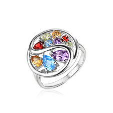 JewelryPalace Amethyst Citrine Garnet Peridot Swiss Blue Topaz Ring 925 Silver