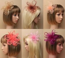 PACK OF 4 LOOPED NET CENTRE ROSETTE & FEATHER FASCINATORS ON A CLIP & BROOCH PIN