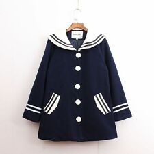 Korean Woollen Coat Winter Jacket Coat Warm Navy collar Preppy Style Cute Frock
