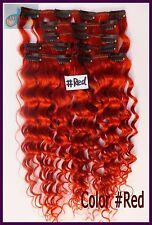 8PCS 150g Curly Wavy Clip In 100% Real Human Hair Extensions Deep Remy Hair Red