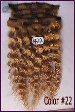 Blonde 150g Full Head Curly Wavy Clip In Real Human Hair Extensions Deep Hair