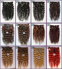10pcs 200g 18''~26''Curly Wavy Clip In Real Human Hair Extension Deep Remy Hair