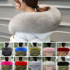Women's Genuine Whole Fox Fur Fluffy Collar Wrap Shawl Large Thick Scarf Warm
