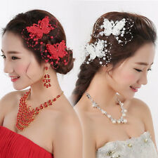 Women Imitation Pearl Butterfly Hair Clip Comb Barrettes Wedding Bridal Jewelry