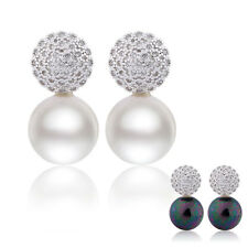 Eternity pearl 18k white gold filled Distinctive Topaz  crystal earring