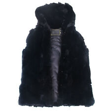 Luxury Mens Real Fam Whole Rabbit Fur Hooded Vest Jacket Coat Classic Black Warm