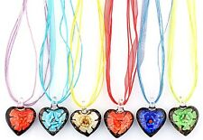 6Pcs Wholesale Lot Handmade Murano Glass Peach Heart Pendant Silver P Necklace