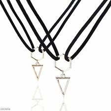 Women's Lady Necklace Triangle Pendant Gold Silver Geometry Punk Jewelry Gifts