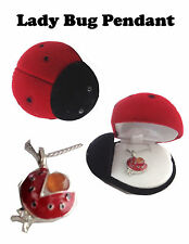 Cutie Ladybug Pendant 17' Necklace with shaped Gift Box Lead free Nickel free