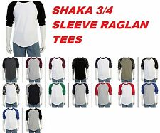 Shaka Raglan 3/4 Sleeve Baseball Plain T- shirts Team Sports Jersey fashion