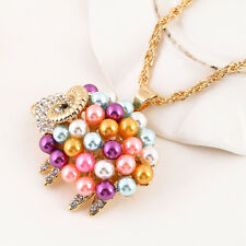 Women Lady Sweater Pearl Sheep Pendants Chain Costume Necklace Charming Jewelry
