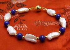 SALE 12-15mm Baroque White Natural pearl and 6mm Blue Jade 7.5'' Bracelet-bra331