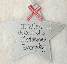 HANDMADE PERSONALISED CHRISTMAS TREE DECORATION SILVER RED BOW STAR HOME GIFT