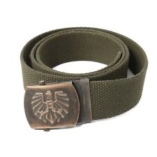 Authentic Austrian army insignia buckle web belt canvas cloth cotton olive brass
