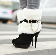 2016 Winter Women Block Heel Fur With Zipper Buckle Thin High-heeled Ankle Boots