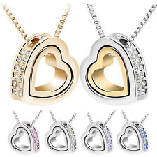 Fashion Womens Heart Crystal Charm Pendant Chain Necklace Silver Plated Jewelry