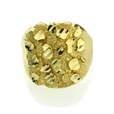 Men Women 14K Yellow Gold 23mm Solid Nugget Ring Right Hand Band / Gift Box