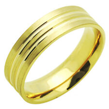 Men Women 14K Yellow Gold 6mm Brushed Polished Wedding Band Ring / Gift Box