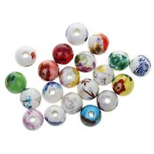 20pcs Mixed Floral Ceramic Porcelain Ethnic Loose Beads for Jewelry Making DIY