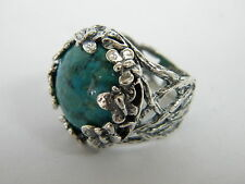 Beautiful Hammered Solid 925 Sterling Silver Ring green Turquoise Stone Wrap