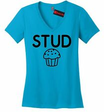 Stud Muffin Funny Ladies V-Neck T Shirt Cute Holiday Gift College Tee Shirt Z5