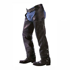 Zip-Out Insulated Classic Premium Cowhide Leather Motorcycle Biker Chaps