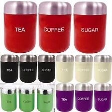 set of 3 Tea Coffee Sugar Kitchen Storage Canisters Containers Jars Pots set